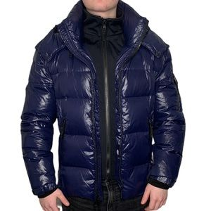 S13 Downhill Quilted Down Puffer Coat -Marine Blue